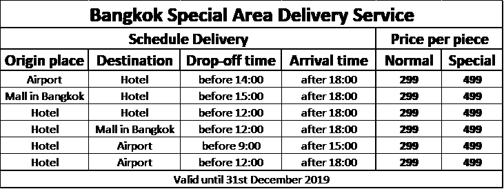 AIRPORTELs Bangkok Special Area Delivery