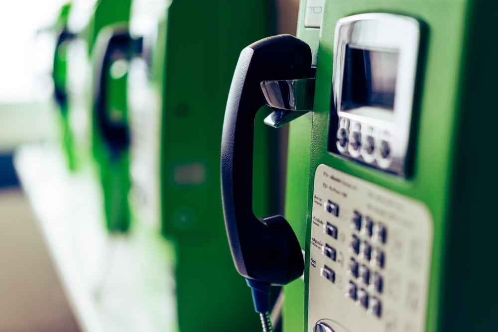 Green public telephone