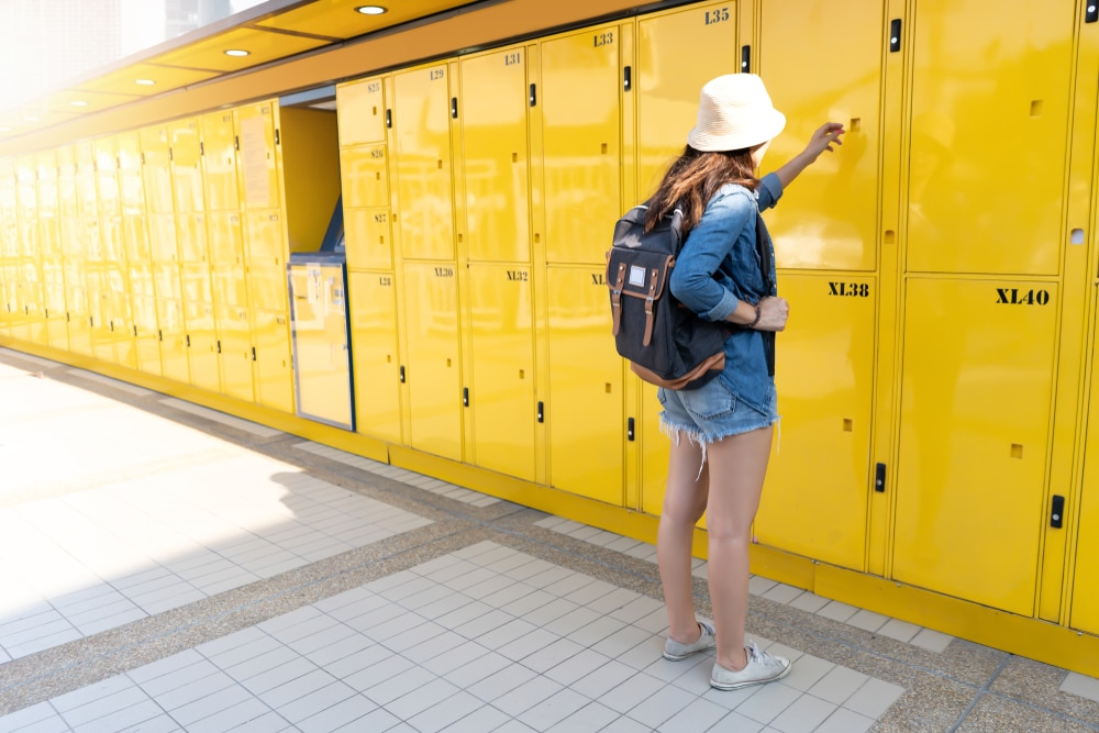 women using the locker service